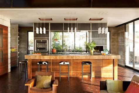 modern and warm kitchen interior design of the brown residence by craig schultz california
