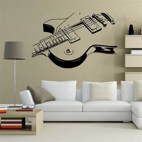 music wall decor guitar music wall art decal decor vinyl dance musical mural sticker 36 quot ebay