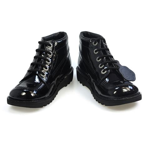 Kickers Shoes 5 kickers kick hi youth black patent leather school shoes size 3 5 ebay
