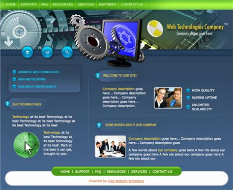 templates for technology website web technologies template free website templates