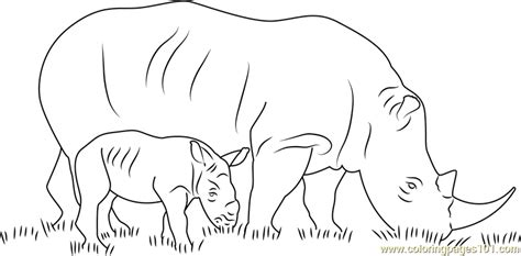 baby rhino coloring page rhino with her baby coloring page free rhinoceros