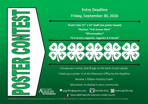 4 H Calendar Of Events Upcoming Events 4 H Poster Contest Entry Deadline Cooke