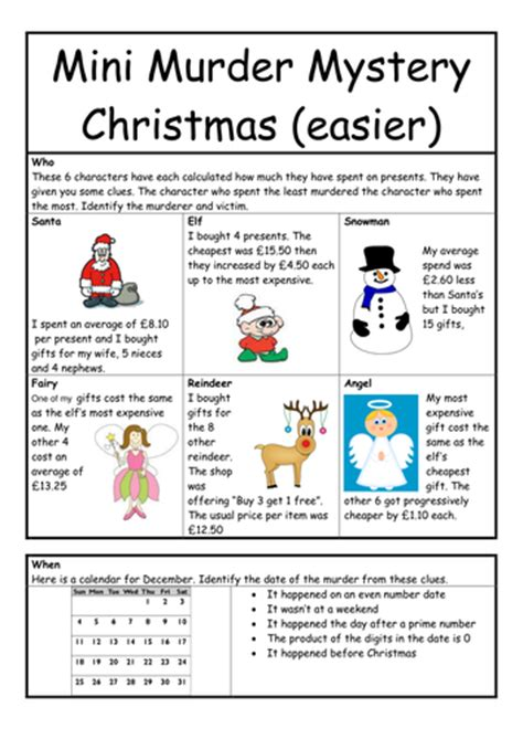 printable christmas quiz ks2 murder mystery for christmas worksheet by whieldon