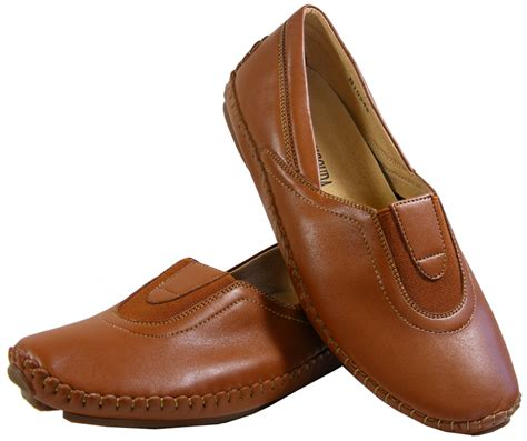 brown slip on gusset flats formal work casual shoes