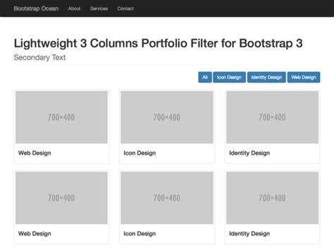 basic templates for bootstrap 3 columns filtered portfolio 3 colums filtered portfolio