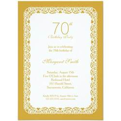 70th anniversary color personalized 70th birthday invitations
