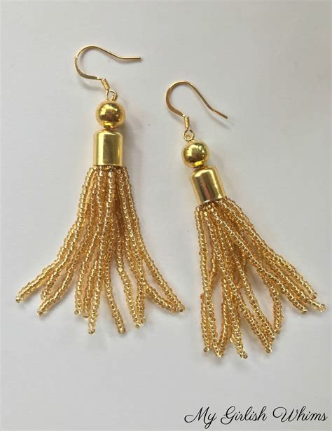 how to make a beaded tassel diy beaded tassel earrings my girlish whims