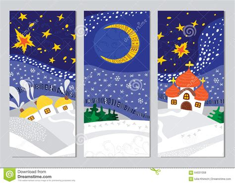 1 birthday card template winter set of landscape cards stock vector