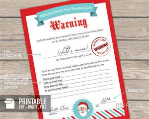 Naughty and nice list certificates printable pdf my party design
