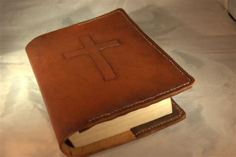 Handmade Cover - handmade leather bible cover rugged cross