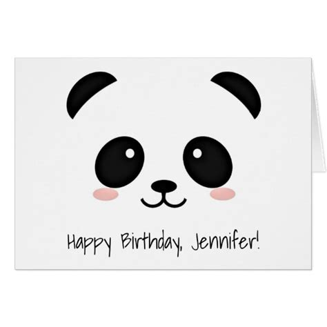 Panda Birthday Card Template by Panda Kawaii Birthday Card Zazzle