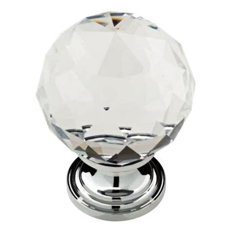 Cabinet Glass Knobs by Liberty 1 3 16 In Chrome With Clear Faceted Glass