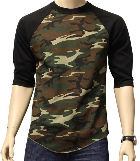 Camouflage Sleeve Shirt new 3 4 sleeve camo raglan baseball mens army camouflage