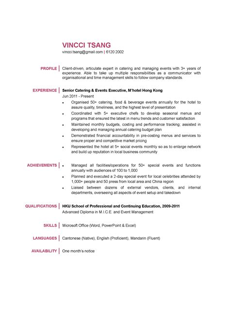 Resume Sample Hk by Catering Amp Events Executive Cv Ctgoodjobs Powered By