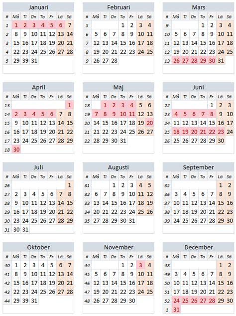 Kalender 2018 Veckor Röda Dagar R 246 Da Dagar 2018 Alla Lediga Dagar 2018