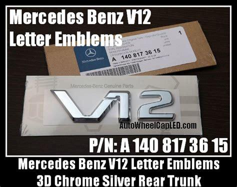 Emblem Letter Fender Mercedes V12 New Style mercedes v12 chrome silver emblems letters stickers p
