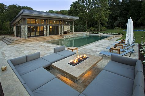 modern pit outdoor lounge and pool house outdoor