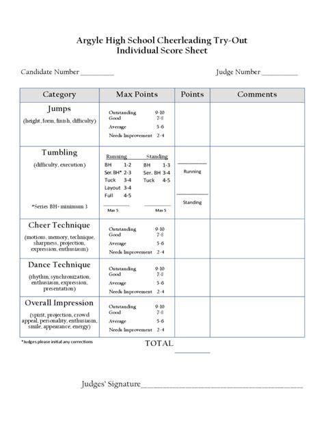 cheerleading tryout score sheet cheerleading tryout score sheet 4 free templates in pdf