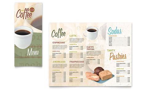 coffee shop cafe tri fold menu templates food beverage