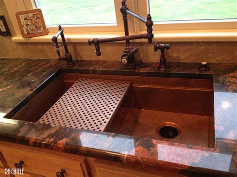 copper farmhouse sink grid hundreds of photos of copper sinks installed in kitchens