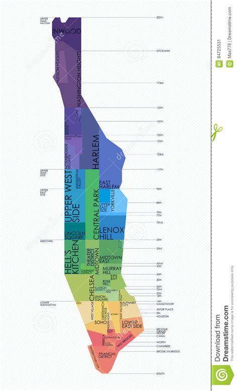 sections of manhattan map vector map neighborhoods of manhattan stock vector image