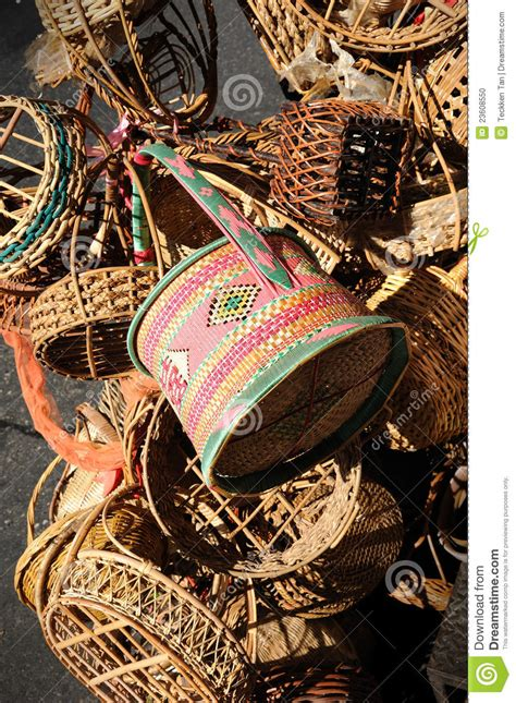 Handmade In Thailand - thai handmade wooden basket stock photo image 23608550