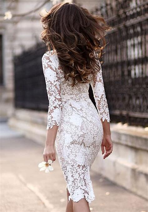 Korean Style Midi Dress With Lace 3 4 Sleeve Pevita Citra Nirwana white plain lace hollow out irregular 3 4 sleeve see through bodycon midi dress