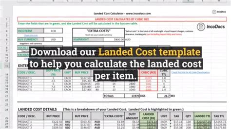Calculate Landed Cost Excel Template For Import Export Inc Freight Customs Duty And Taxes Freight Cost Analysis Template