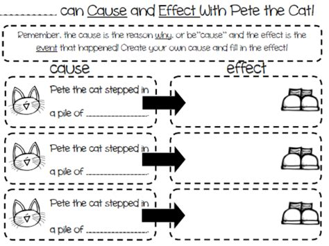 kindergarten cause and effect worksheets reading