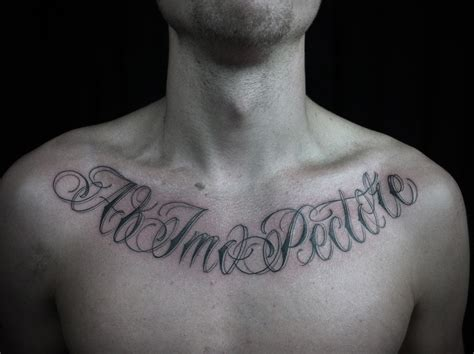 chest lettering tattoo designs chest script quotes quotesgram