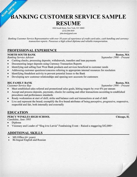Bank Customer Service Representative Sle Resume by 1000 Images About Resumes On Functional Resume Template Sales Resume And Retail