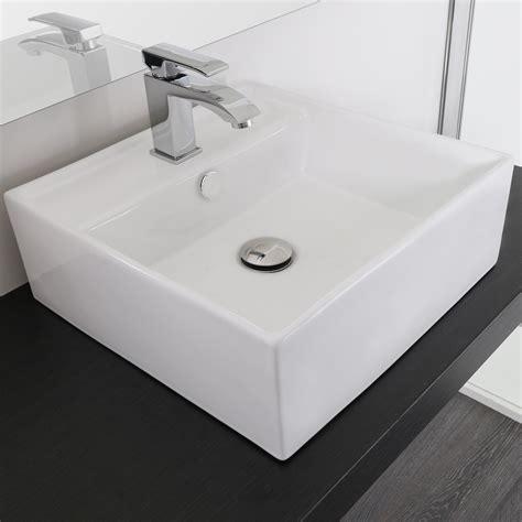 rubinetti per lavabo lavandino da appoggio 41x41 cm ceramica bianco