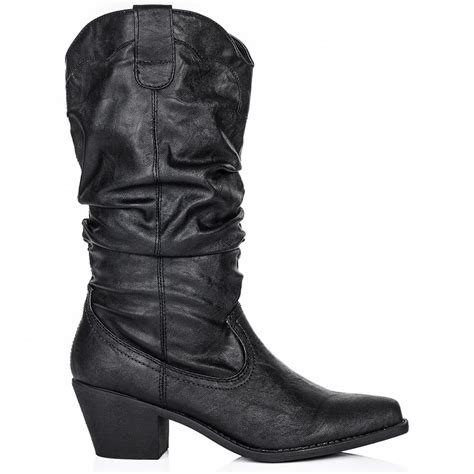 buy emilie heeled slouch calf western boots black leather