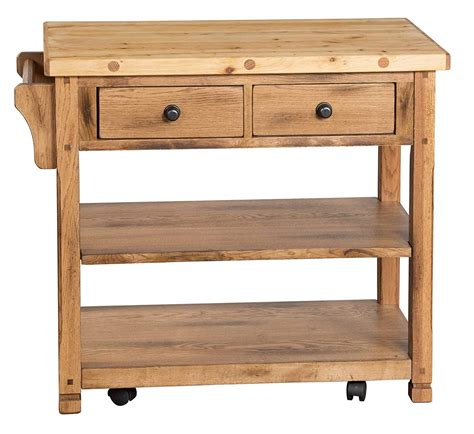 Rustic Oak Butcher Block Kitchen Island Cart Oak Kitchen | sunny designs 2178ro sedona butcher block kitchen island