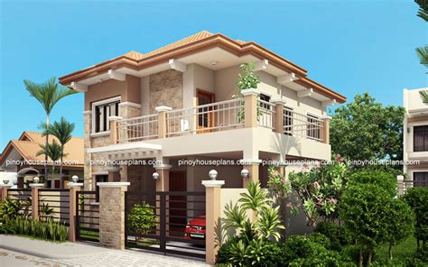 four bedroom double storey house plan php 2015023 four bedroom two storey contemporary residence pinoy house plans