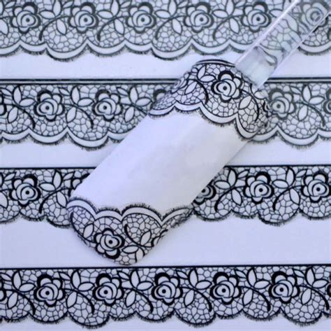 3d black lace design nail stickers flower manicure decals tips decoration unfair weight