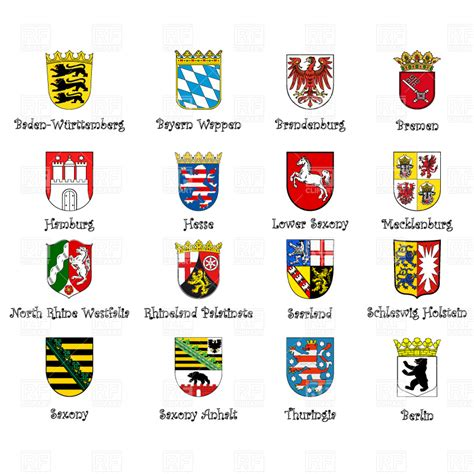 tag how to type at symbol on german coat of arms of provinces of germany vector image of signs