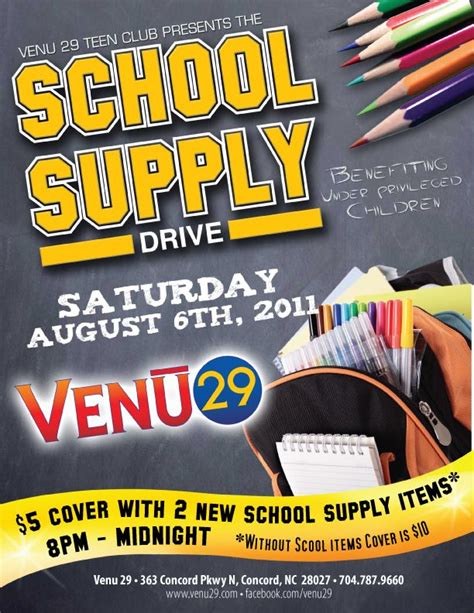 Free School Supply Drive Flyer Template