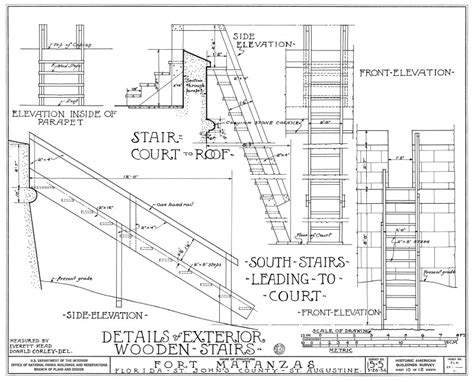 Ibc Stair Design by 1934 Survey Of Fort Matanzas Details Of Exterior Wooden