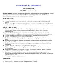 sales representative description template sle sales representative description