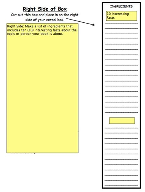 Printable Cereal Box Template homework ms session s 6th grade