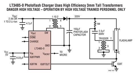 high voltage capacitor charger controller with regulation lt3485 photoflash capacitor chargers with output voltage monitor and integrated igbt drive
