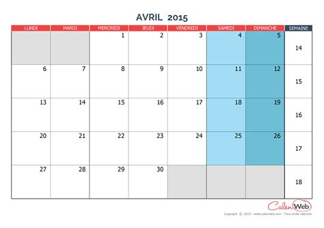 Calendrier 6 Avril Calendrier Mensuel Mois D Avril 2015 Version Vierge