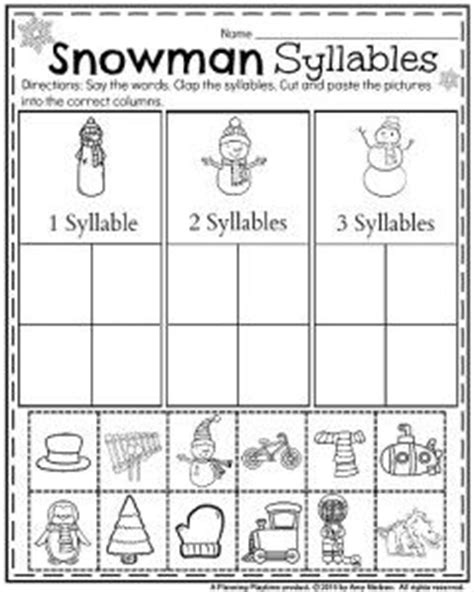 Free Syllable Worksheets For Kindergarten by January Kindergarten Worksheets Pictures Cut And Paste