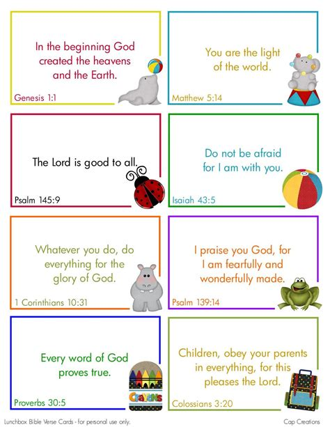 Printable Bible Card Games   cap creations free printable lunchbox bible verse cards