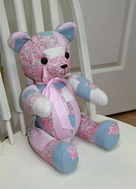 Quilted Teddy quilted teddy pink and blue jointed