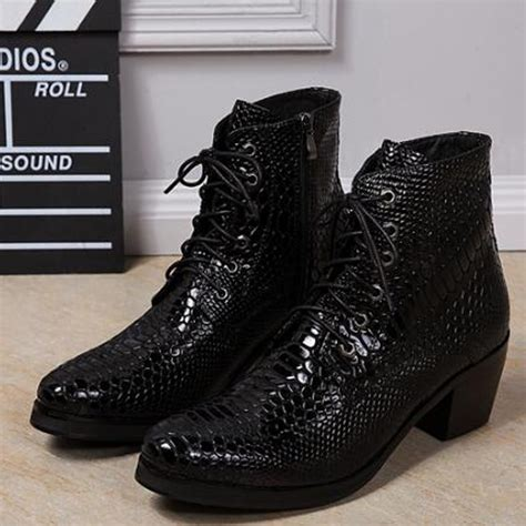 high heeled mens boots mens high heel boots fashion snakeskin zipper mens shoes