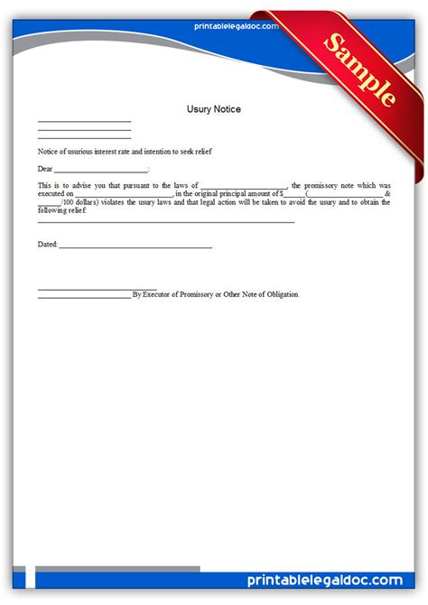 free printable usury notice form generic