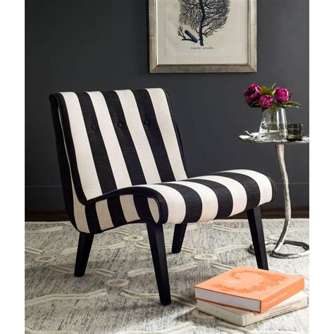 Black And White Striped Accent Chair Safavieh Black White Polyester Accent Chair Mcr4552f The Home Depot