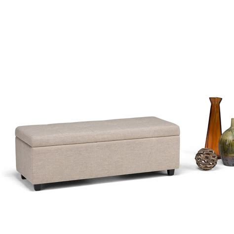 simpli home waverly tufted ottoman bench natural simpli home castleford natural storage bench 3axcot 241 nl